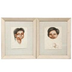 Pair framed vintage print of drawings by Diego Rivera