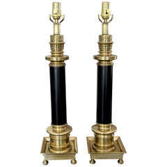 Pair of Frederick Cooper Column Brass Table Lamps