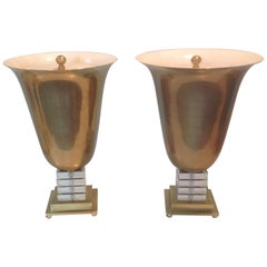 Pair of Frederick Cooper Signed Urn Form Lamps in Brass and Lucite