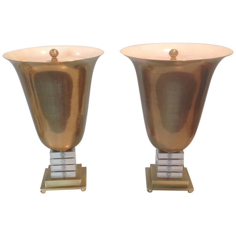 Pair of Frederick Cooper Signed Urn Form Lamps in Brass and Lucite For Sale