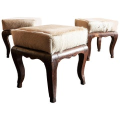 Pair of French 1900s Stools with Cowhide Seats