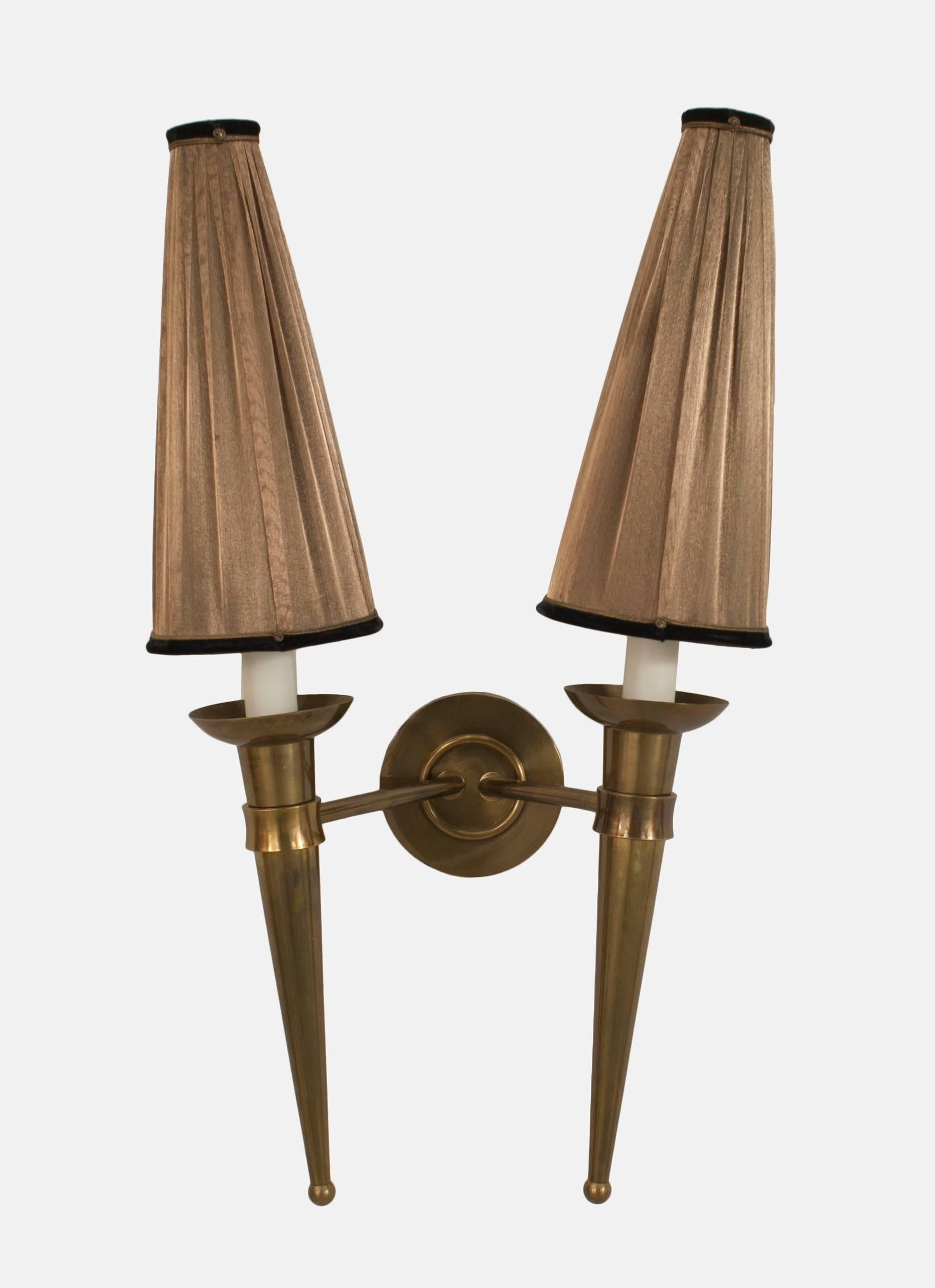 Pair of French 1940s brass two torch form arm wall sconces with original brown upholstered & Pair of French 1940s Brass Two Torch Form Arm Wall Sconces For Sale ...