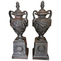 Pair of French 19th Century Antique Cast Iron Urns