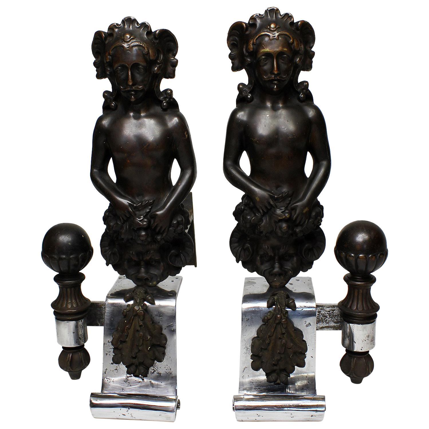 Pair French 19th Century Baroque Revival Style Steel and Bronze Chenets Andirons