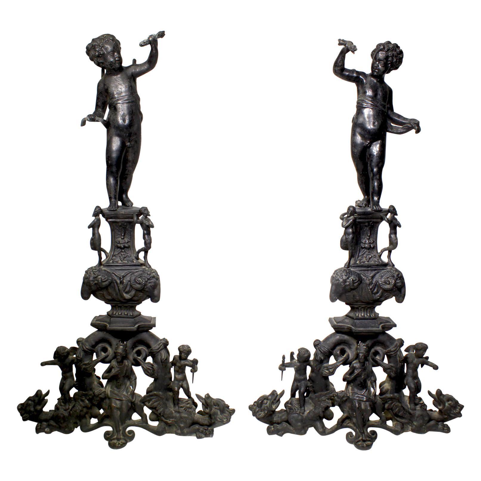 Pair French 19th Century Baroque Style Patinated Bronze Cherub Chenets Andirons