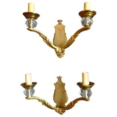 Pair of 19th Century Gold-Plated Sconces with Two Lights and Glass Holders