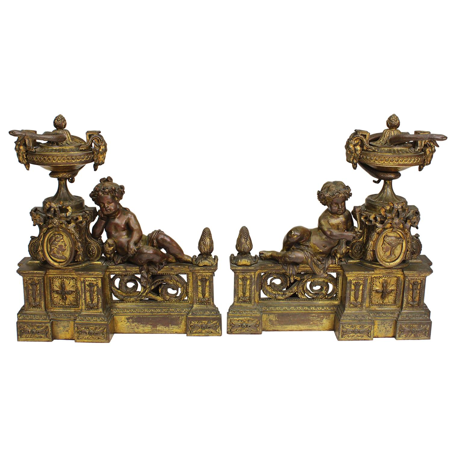 French 19th Century Louis XV Style Gilt-Bronze Chenets Andirons with Putti, Pair