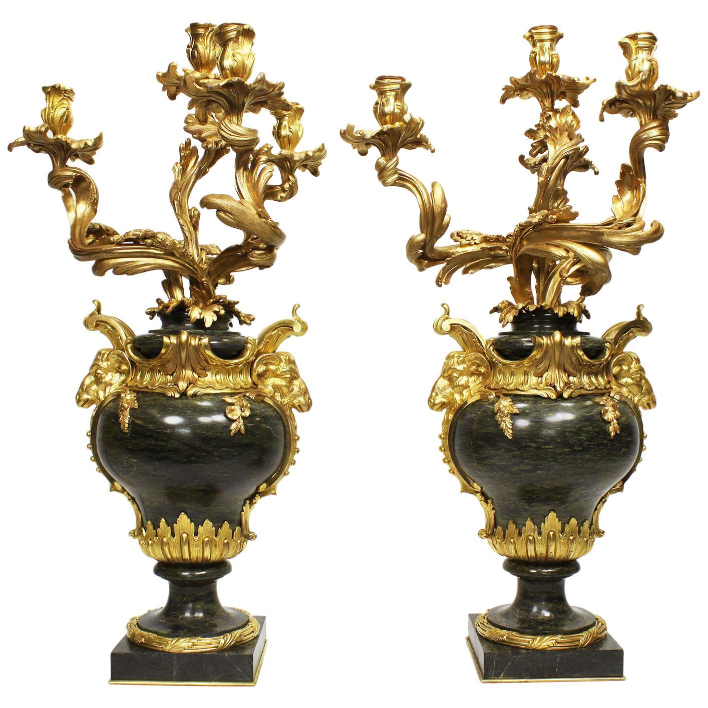 Pair of French 19th Century Louis XV Style Marble & Ormolu Candelabra Henri Vian