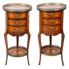 Pair French 19th Century Marquetry Side Tables