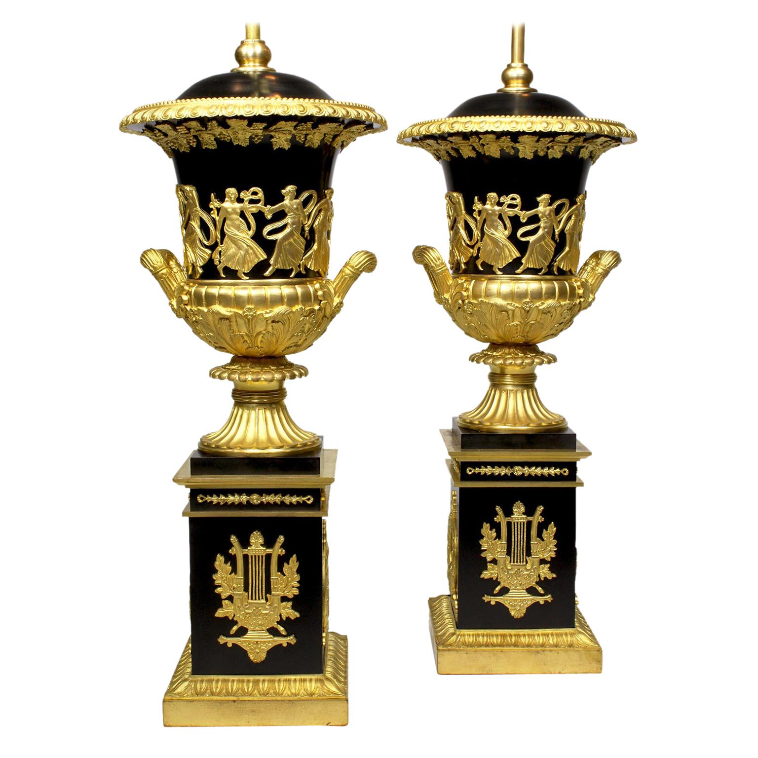 Pair French 19th Century Napoleon III Empire Style Gilt-Bronze Urn Table Lamps