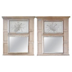 Pair of 19th Century Painted Pine Trumeau Mirrors with Original Mirror Glass