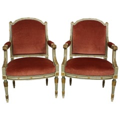Pair of French Louis XVI Style Gilt, Cream /Green Painted Fauteuils Armchairs