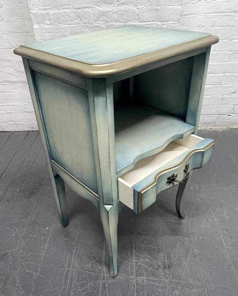 Wood Pair French Antique Style Painted Nightstands For Sale