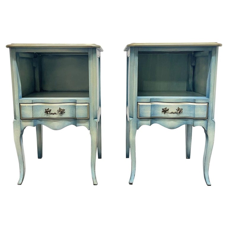 Pair French Antique Style Painted Nightstands For Sale