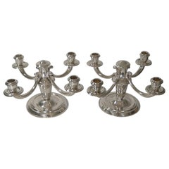 Pair of French Art Deco Candelabra in Silver Plate by Ravinet d'Enfert
