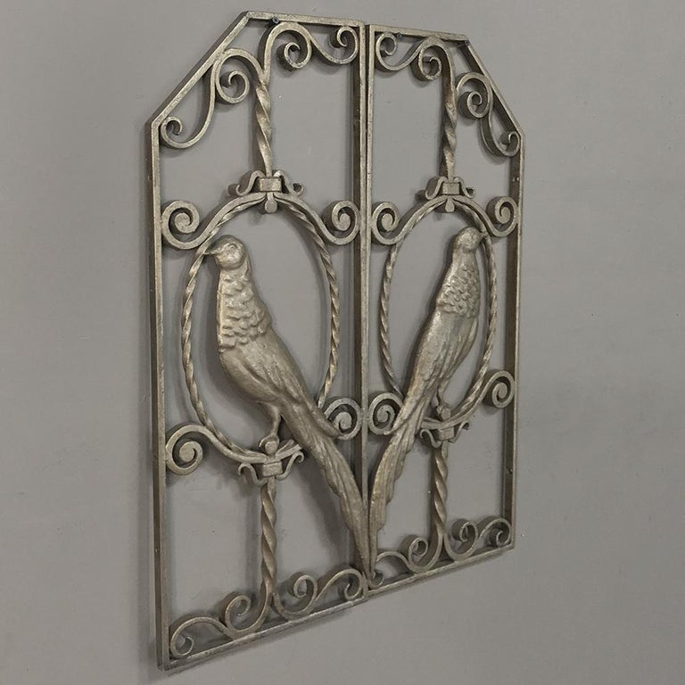 Hand-Crafted Pair of French Art Deco Gilded Wrought Iron Gates