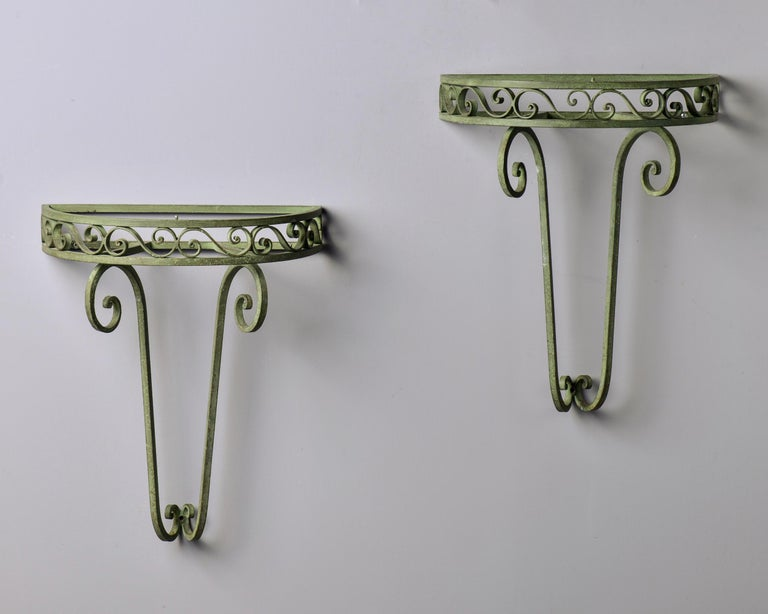 Pair French Art Deco Iron Demilune Wall Consoles with Marble Tops For Sale 7