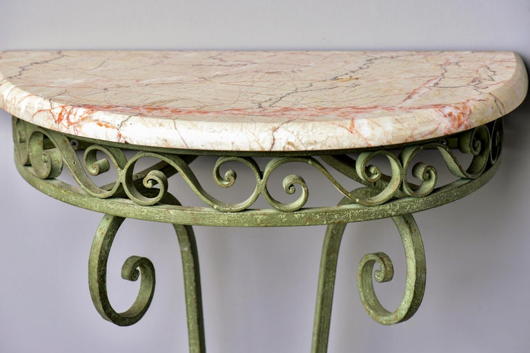 Pair French Art Deco Iron Demilune Wall Consoles with Marble Tops In Good Condition For Sale In Troy, MI