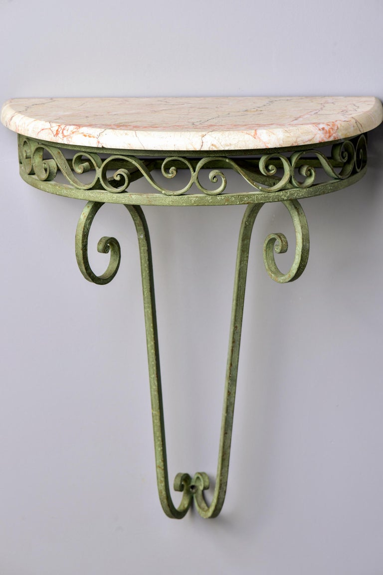 Pair French Art Deco Iron Demilune Wall Consoles with Marble Tops For Sale 2