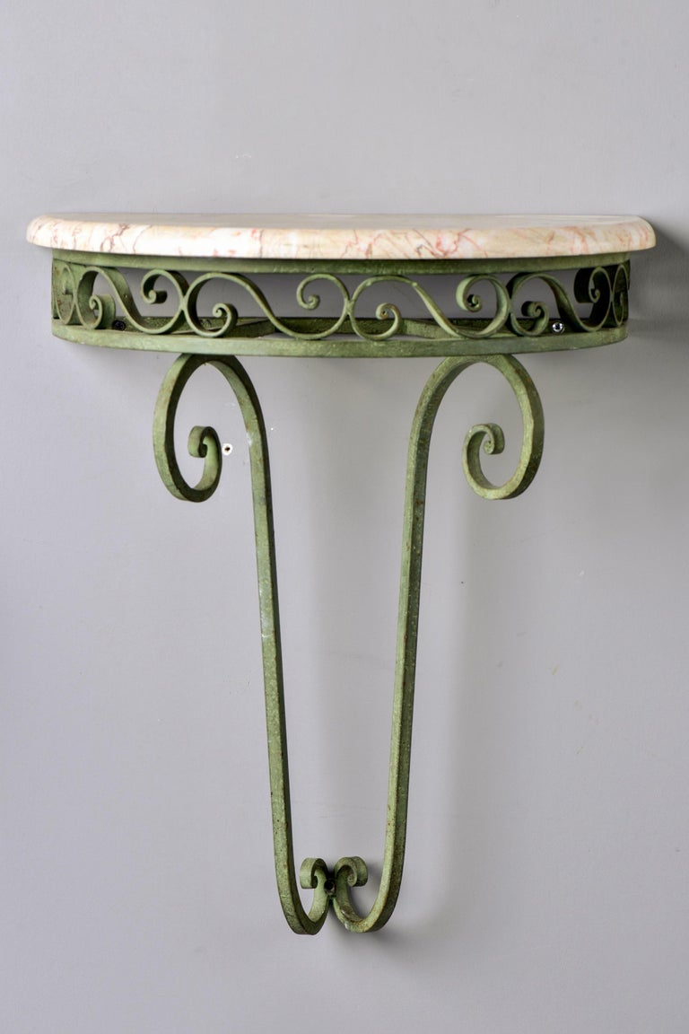 Pair French Art Deco Iron Demilune Wall Consoles with Marble Tops For Sale 3