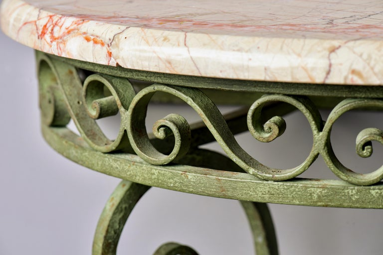 Pair French Art Deco Iron Demilune Wall Consoles with Marble Tops For Sale 4