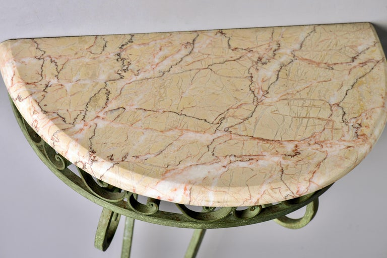 Pair French Art Deco Iron Demilune Wall Consoles with Marble Tops For Sale 5