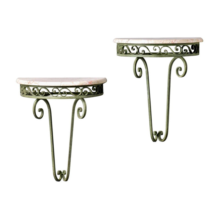 Pair French Art Deco Iron Demilune Wall Consoles with Marble Tops For Sale