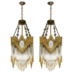 Pair of French Art Nouveau Art Deco Gilded Amber Beaded Fringe Chandeliers