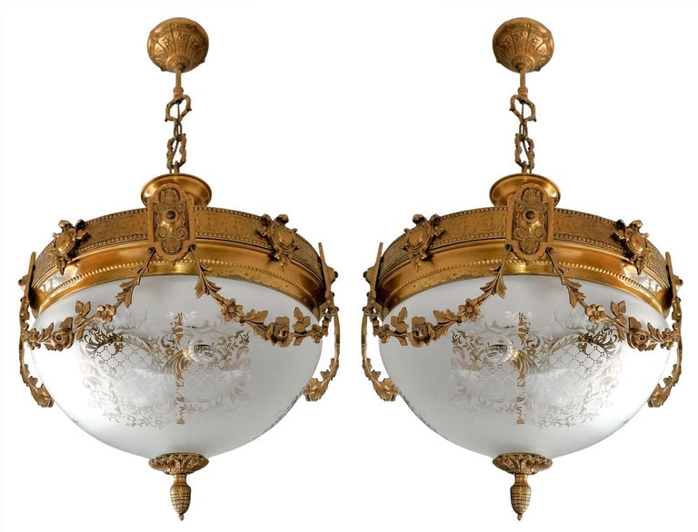 Pair French Art Nouveau Art Deco Gilt Bronze Etched Glass Chandelier Flushmount In Good Condition For Sale In Coimbra, PT