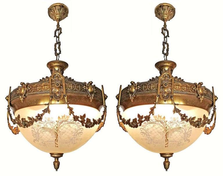 20th Century Pair French Art Nouveau Art Deco Gilt Bronze Etched Glass Chandelier Flushmount For Sale