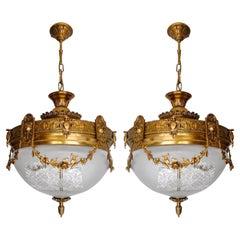 Pair French Art Nouveau Art Deco Gilt Bronze Etched Glass Chandelier Flushmount