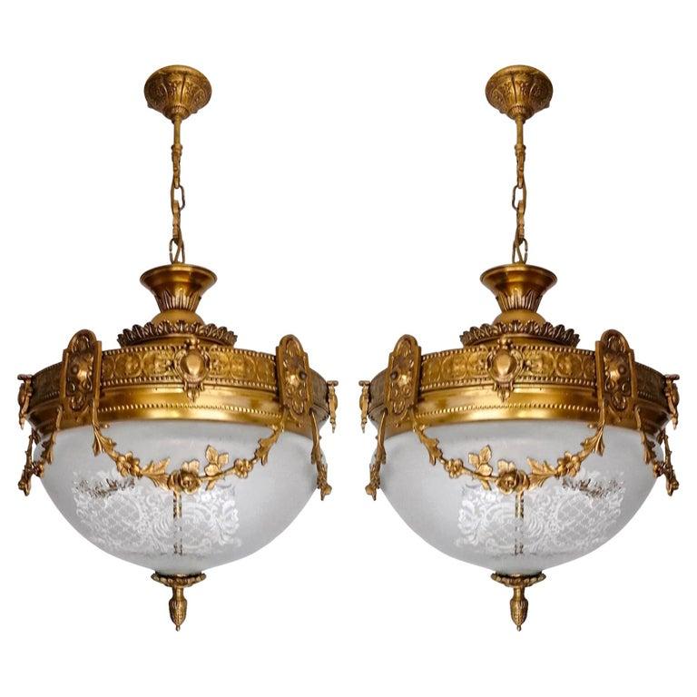 Pair French Art Nouveau Art Deco Gilt Bronze Etched Glass Chandelier Flushmount For Sale