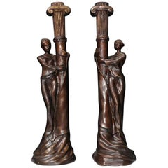Pair of French Art Nouveau Bronze Candlesticks Candelabras, 20th Century