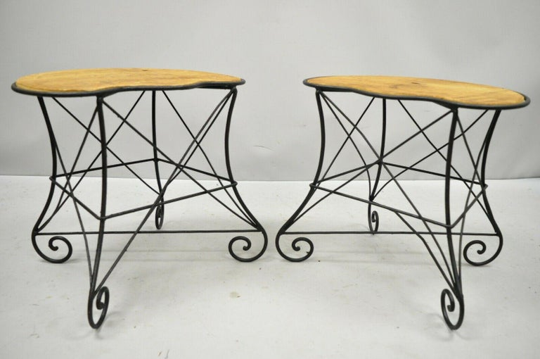 Pair of Art Nouveau Style Stool Bench Seats with Scrolling Wrought Iron Frame For Sale 6