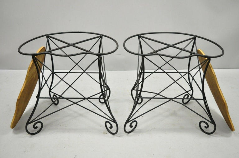 Pair of Art Nouveau Style Stool Bench Seats with Scrolling Wrought Iron Frame In Good Condition For Sale In Philadelphia, PA