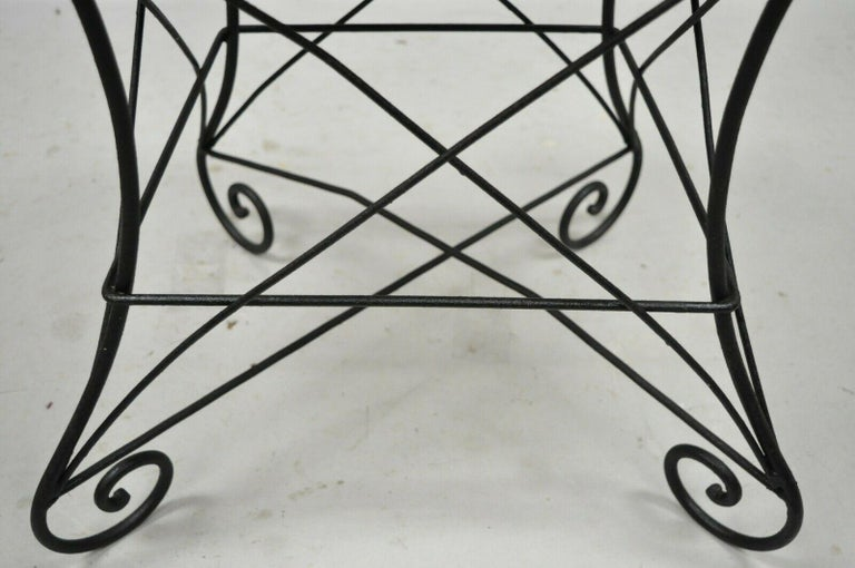 20th Century Pair of Art Nouveau Style Stool Bench Seats with Scrolling Wrought Iron Frame For Sale