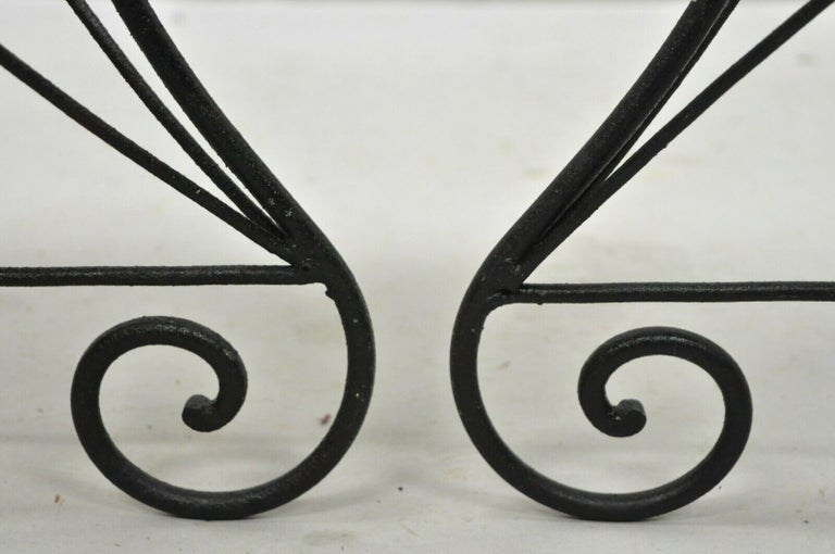 Pair of Art Nouveau Style Stool Bench Seats with Scrolling Wrought Iron Frame For Sale 1