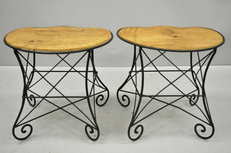 Pair of Art Nouveau Style Stool Bench Seats with Scrolling Wrought Iron Frame For Sale 2