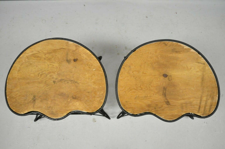 Pair of Art Nouveau Style Stool Bench Seats with Scrolling Wrought Iron Frame For Sale 3