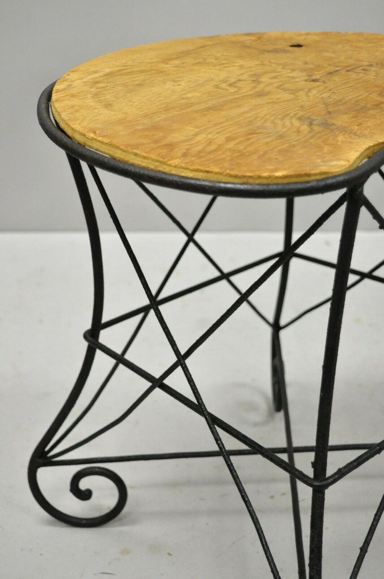 Pair of Art Nouveau Style Stool Bench Seats with Scrolling Wrought Iron Frame For Sale 4