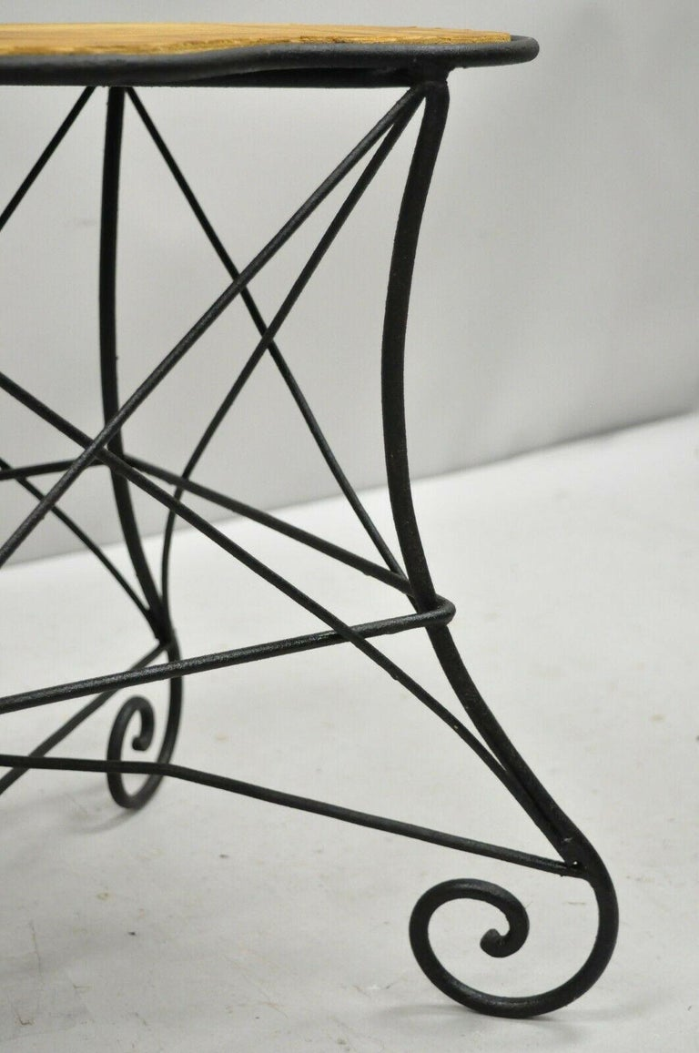 Pair of Art Nouveau Style Stool Bench Seats with Scrolling Wrought Iron Frame For Sale 5