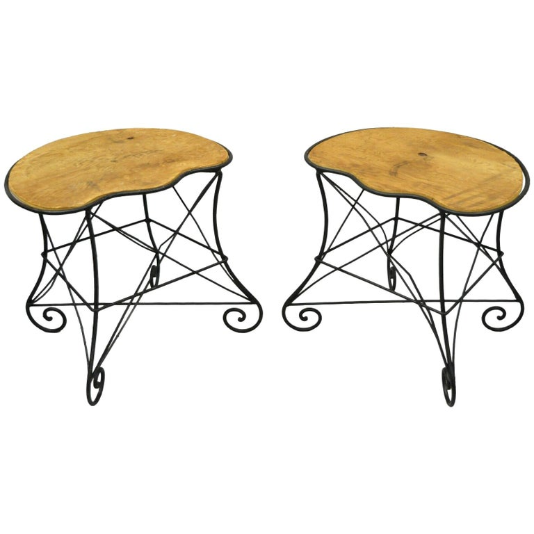 Pair of Art Nouveau Style Stool Bench Seats with Scrolling Wrought Iron Frame For Sale