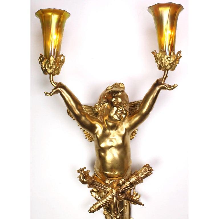 Pair French Belle Époque Century Gilt-Bronze Cherub Wall-Lights by Joseph Chéret For Sale 1