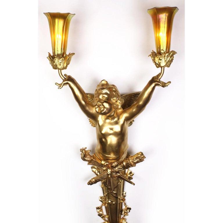 Pair French Belle Époque Century Gilt-Bronze Cherub Wall-Lights by Joseph Chéret For Sale 2