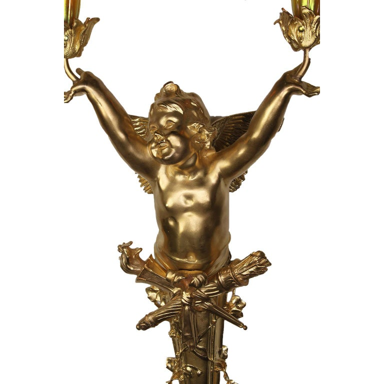 Pair French Belle Époque Century Gilt-Bronze Cherub Wall-Lights by Joseph Chéret For Sale 4