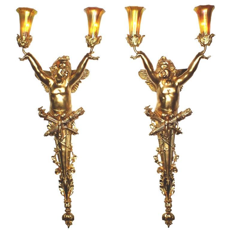 Pair French Belle Époque Century Gilt-Bronze Cherub Wall-Lights by Joseph Chéret For Sale