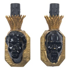 Pair French Black and Gold Bronze Face Sconces