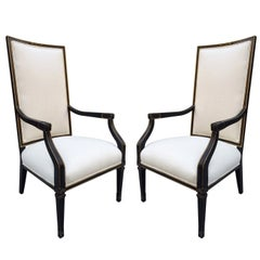Pair of French Black and Gold Trim Side Chairs