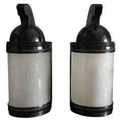 Pair French Black Tole Spartan Helmet Table Lamps