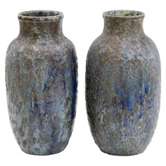 Pair of French Blue Glazed Art Pottery Vases Attributed To Atelier De Glatigny